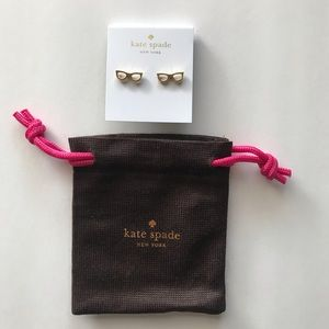 Kate Spade Goreski Glasses Stud Earrings, New!